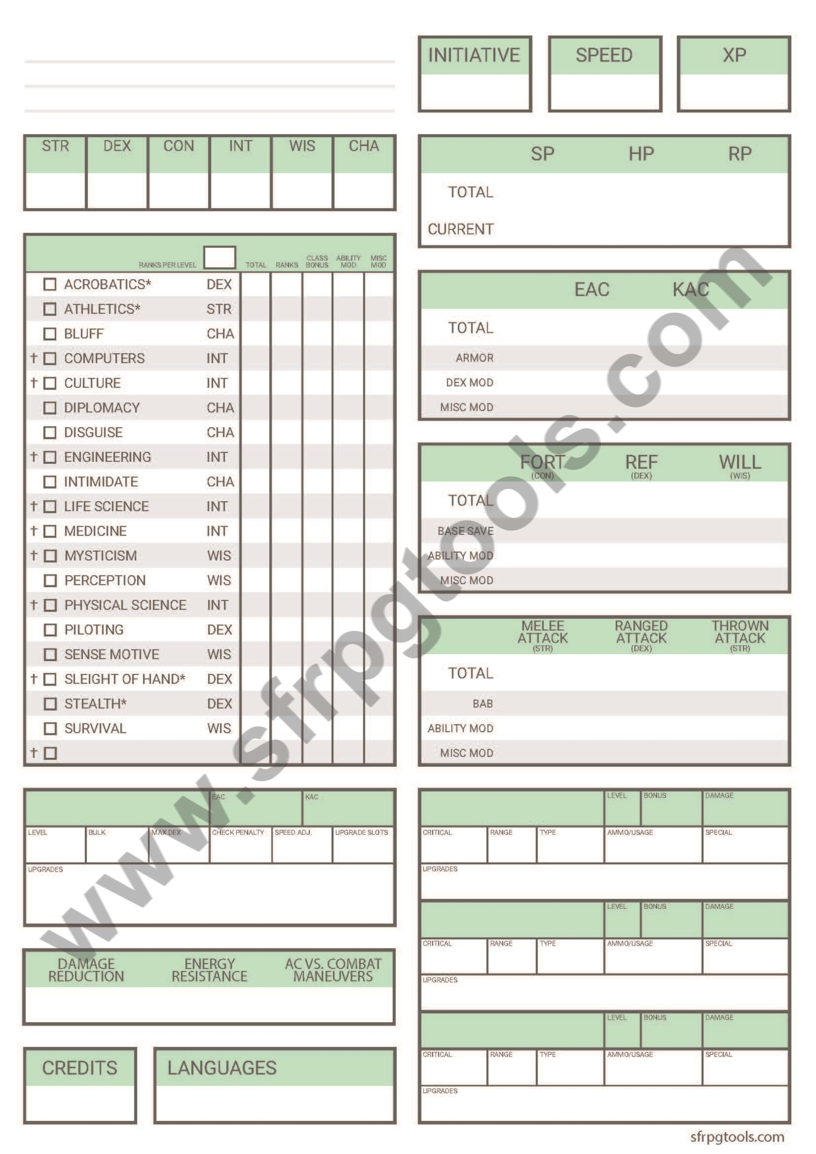 graphic about Starfinder Character Sheet Printable named Different Starfinder Persona Sheet