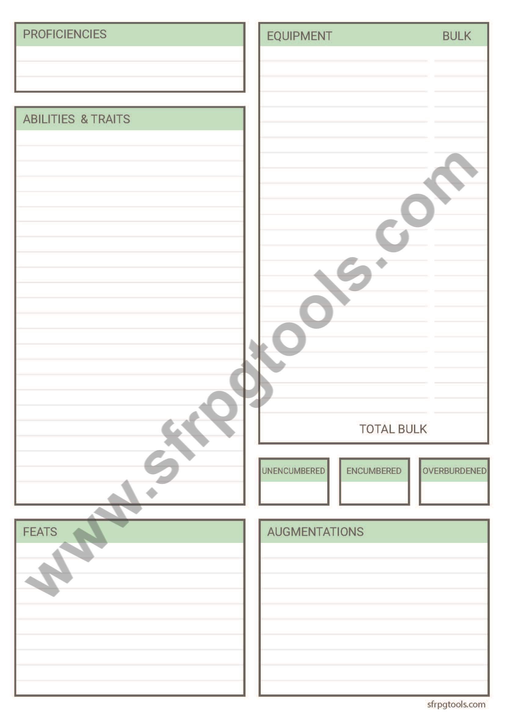 image relating to Starfinder Character Sheet Printable named Option Starfinder Identity Sheet